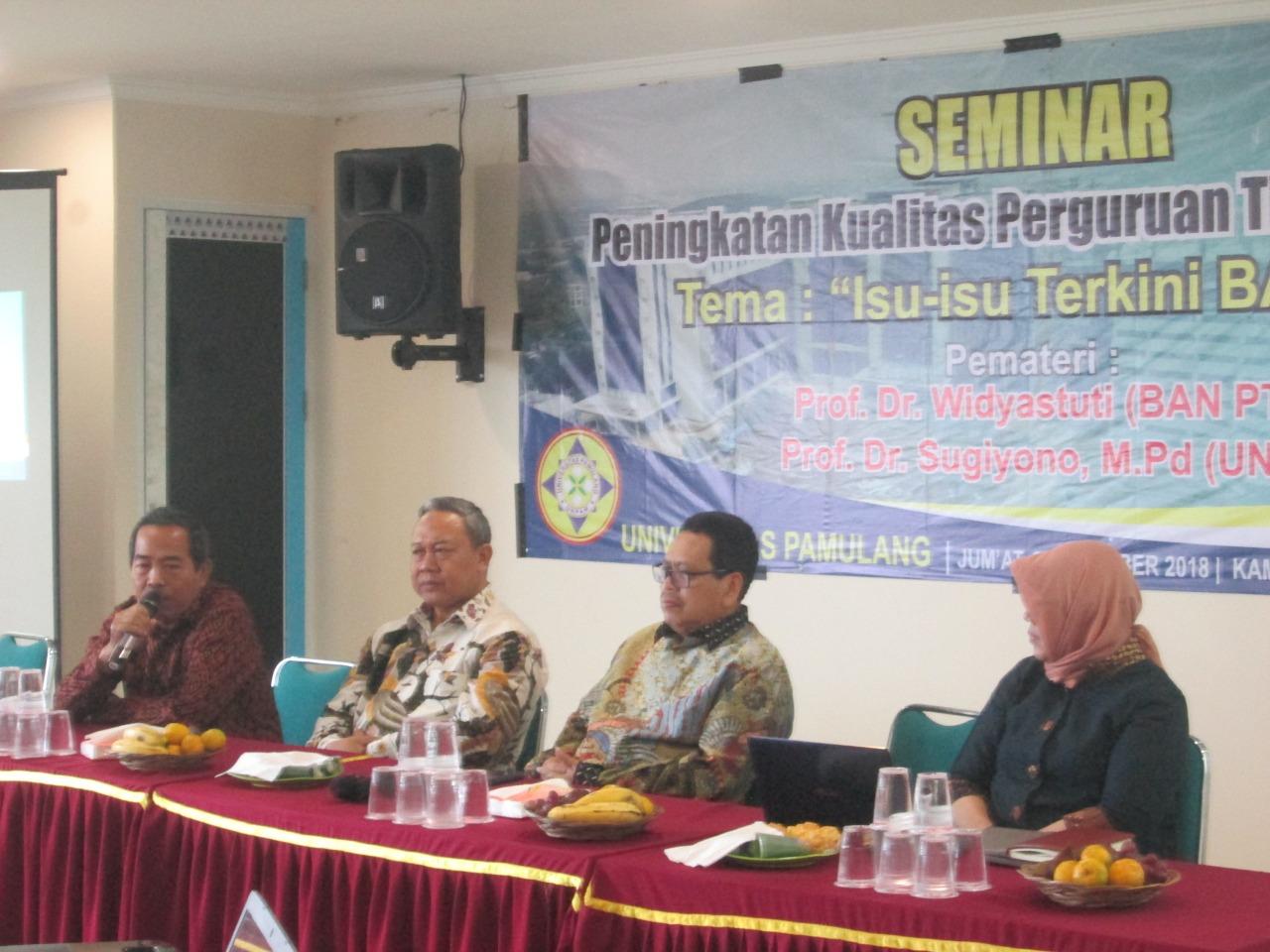Gelar Seminar Borang Akreditasi, Unpam Undang Guru Besar UGM